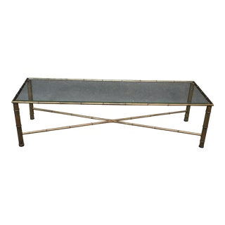 Regency Style Faux Bamboo Glass Top Coffee Table For Sale