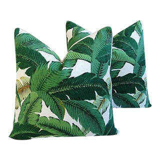 "Large Tropical Iconic Banana Leaf Feather/Down Pillows 24"" Square- a Pair For Sale"