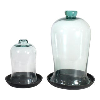 Vintage Glass Bell Jar Cloches - Set of 2 For Sale