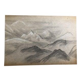 1930s Vintage Eliot Clark Himalayan Landscape Impressionist Inspired Drawing For Sale