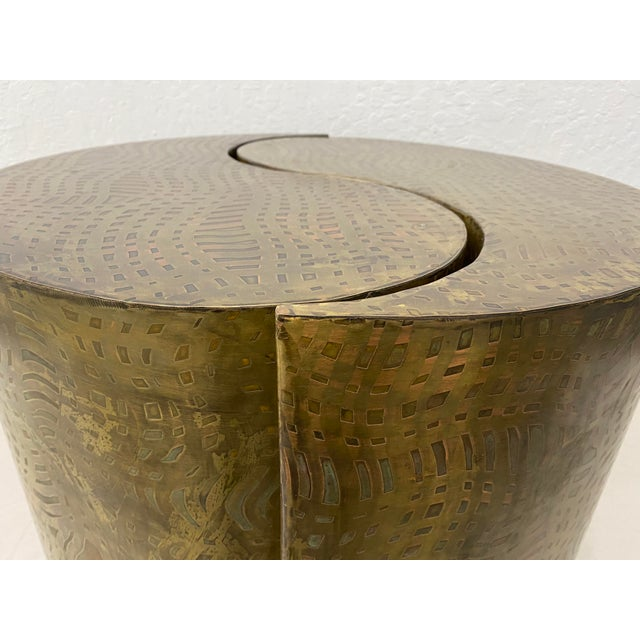 """Pair of Pilino Parker Etched Bronze """"Yin Yang"""" Nesting Side Tables c.1988 Exquisite pair of nesting tables by Pilino..."""