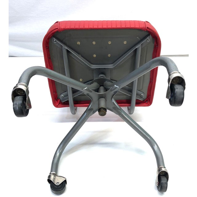 Red Tanker Steelcase Machine Age Industrial Little Red Desk Chair For Sale - Image 8 of 9