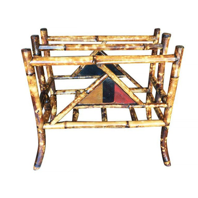 Restored Tiger Bamboo Magazine Rack With Divider - Image 5 of 6