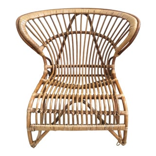 Vintage Mid Century Modern Danish Viggo Boesen Bentwood Bamboo Rattan Fox Chair For Sale