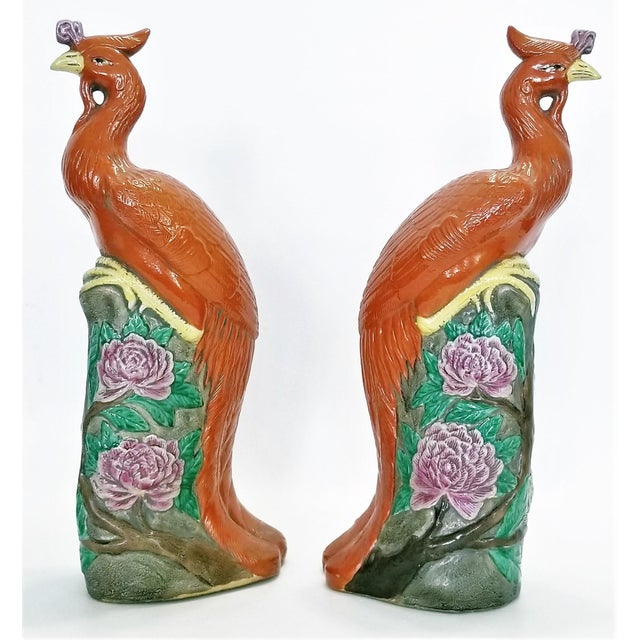 Asian Large Chinese Ceramic Phoenix Sculpture Figurines - a Pair - Feng Shui - Asian Palm Beach Boho Chic Animals Birds Tropical Coastal For Sale - Image 3 of 13