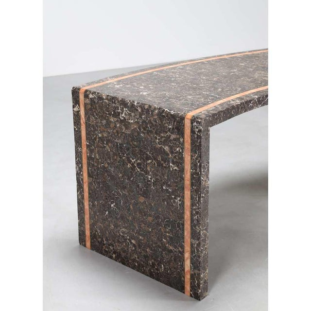 1970s 1970s Marzio Cecchi Italian Pink White Veined Black and Beige Marble Desk For Sale - Image 5 of 10
