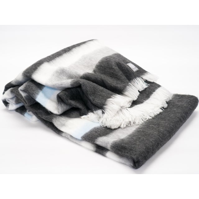 Mid-Century Modern Luxe Alpaca Blanket in Charcoal/Dove Grey/Ivory/Sky Blue For Sale - Image 3 of 3