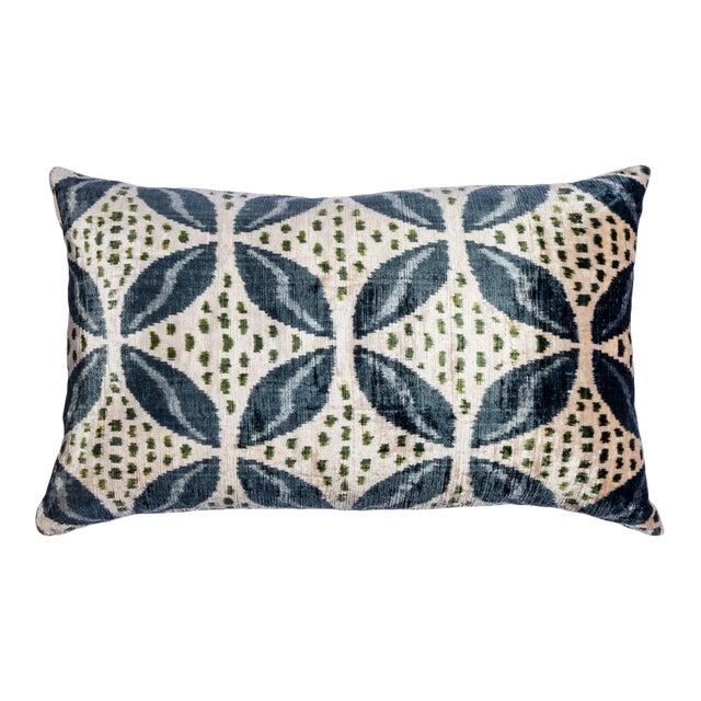 Vintage Large Rectangle Green/Silver/Blue Silk Velvet Ikat Pillow For Sale