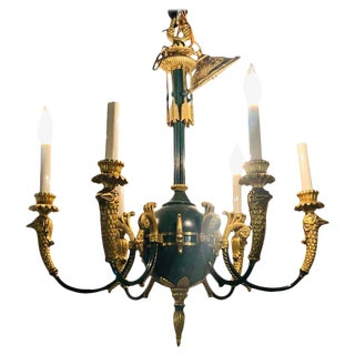 Federal Style Green Bronze Chandelier With Gilt Swan Heads For Sale