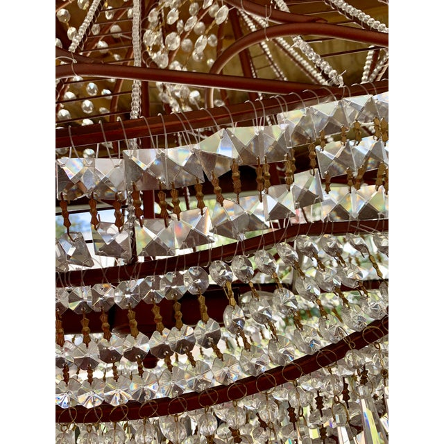 Rose Gold and Crystal Ship Chandelier For Sale - Image 4 of 7