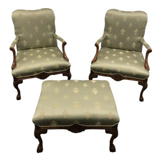 1980s Queen Ann Arm Green Upholstered Chairs and Ottoman - 3 Piece Set
