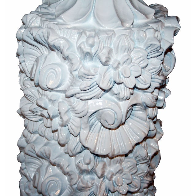 Glossy White Carved Floral Lamps - A Pair - Image 7 of 8
