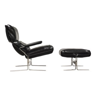 Richard Hersberger for Sapiriti Italian Leather and Chrome Lounge Chair and Ottoman For Sale