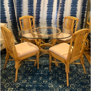 1980s Hollywood Regency Rattan Pal Beach Mid Century Dining Set Kindel Style - 5 Pieces Preview