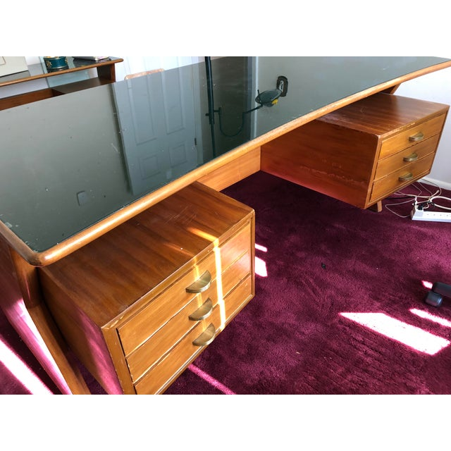 Executive Desk -The desk was purchased in Cantu Italy. It is Paolo Buffa inspired design. It was purchased in 1956