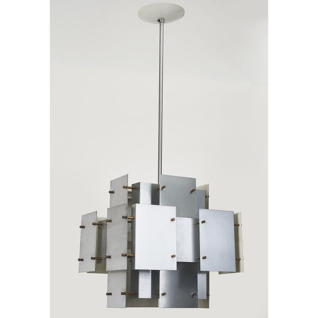 1970s Satin Steel Floating Panel Chandelier by Robert Sonneman For Sale - Image 5 of 11