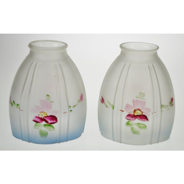 Victorian Handpainted Frosted Glass Light Shades - A Pair Condition consistent with age and history. Some flea bite chips...