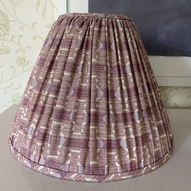 Boho Chic Plum Fermoie Pleated Lampshades- a Pair For Sale - Image 3 of 6