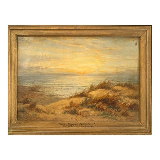 English Victorian Landscape of Beach at Sunset For Sale