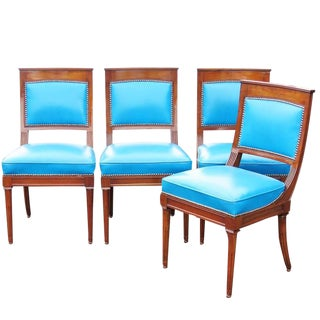 Four Directoire Style Leather Carved Side Chairs For Sale