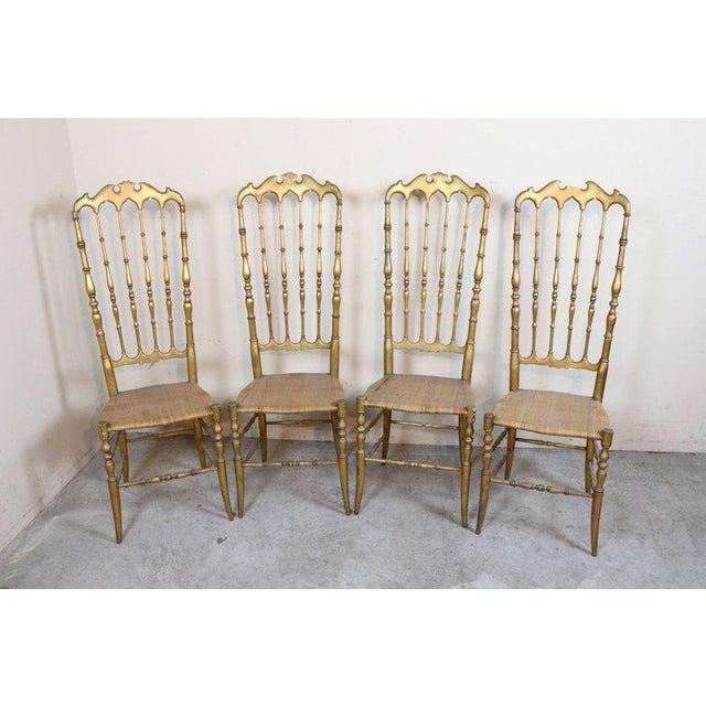 19th Century Italian Set of Four Turned and Gilded Wooden Famous Chiavari Chairs For Sale - Image 9 of 10