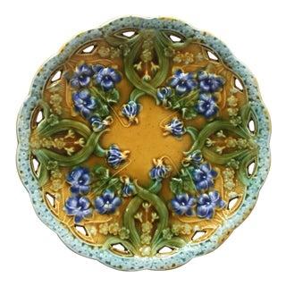 1900s Art Nouveau Villeroy Boch Majolica Violets Plate For Sale