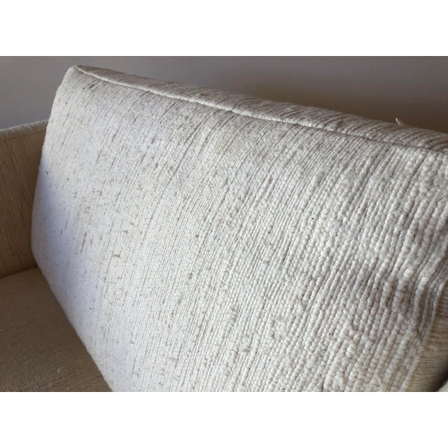 White Scandinavian Vintage Modern Box / Club Chair With Boucle Upholstery and Walnut Base For Sale - Image 8 of 12