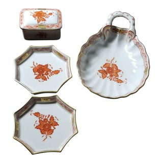 Herend Chinese Bouquet Rust Decorative Pieces - Set of 4 For Sale