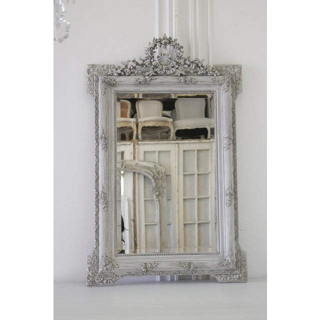 20th Century Carved & Painted French Mirror With Roses - Image 5 of 5