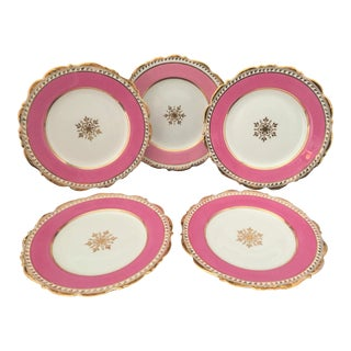Antique 1910 Cauldon Pink Enamel, Gold Trimmed Dessert Plates for Gilman & Collamore of New York - Set of 5 For Sale