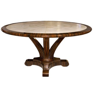 Customizable Delfine Macassar Ebony and Shagreen Table with Brass Detail For Sale
