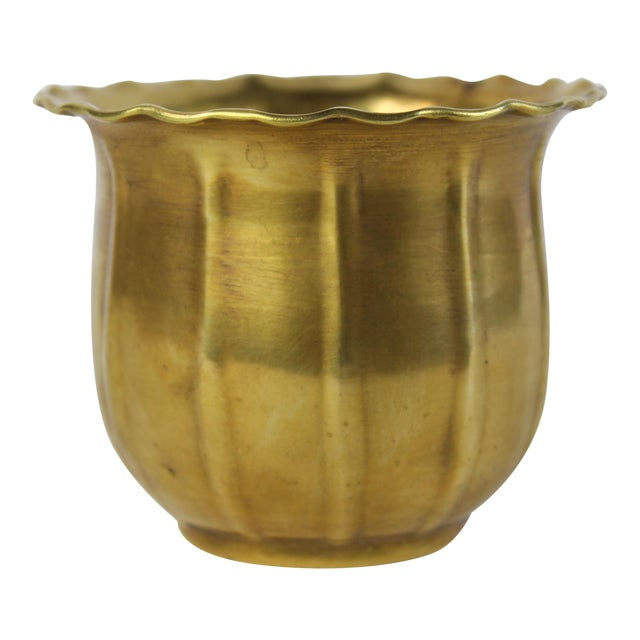 Scalloped Brass Bowl or Vase - Image 1 of 6