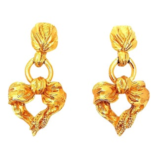 Christian Lacroix Ribbon and Heart Motif Drop Earrings For Sale
