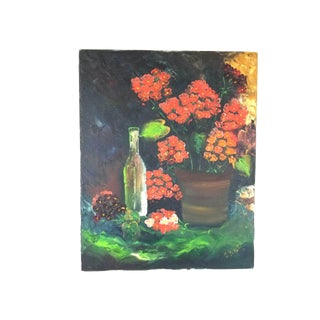 Vintage Mid-Century Floral Flower Still Life Acrylic on Canvas Painting For Sale