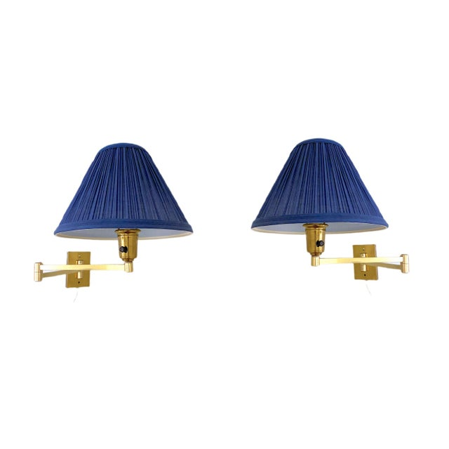 Vintage Double Swing Arm Brass Wall Lamps in the Manner of Hinson - a Pair For Sale - Image 13 of 13