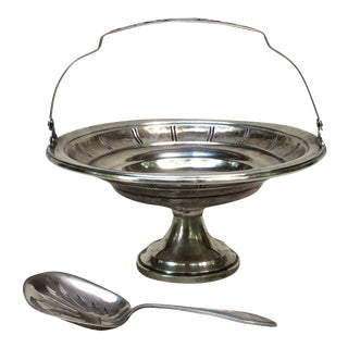 Sterling Silver Berry Basket & Spoon For Sale