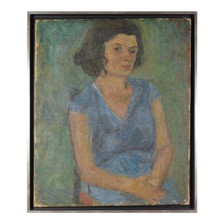"""""""Seated Woman in Blue"""" 1940, Expressionist Oil on Canvas Portrait For Sale"""