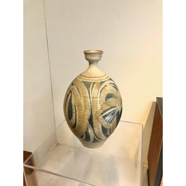 Wishon-Harrell Large Vintage Stoneware Vase by Wishon Harrell For Sale - Image 4 of 9