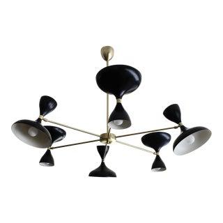 Stellar Union Milano Black Enamel Mid-Century Modern Chandelier For Sale