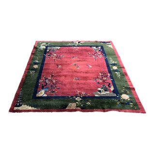 Early 20th Century Vintage Art Deco Chinese Rug-8′ × 9′10″ For Sale