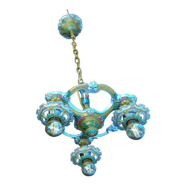 Antique Small Green and Blue Art Deco Chandelier - Image 1 of 9