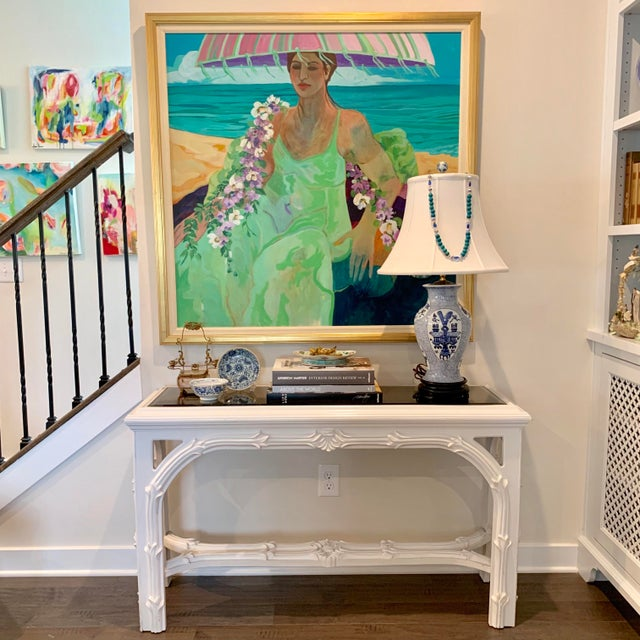 White Mid Century Regency Serge Roche Console Table For Sale - Image 8 of 12