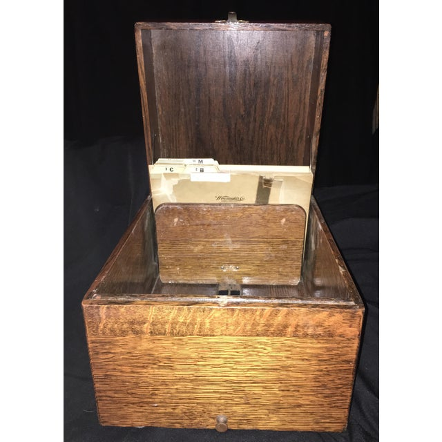1920s 1920s Arts and Crafts Flamed Oak Filing Box For Sale - Image 5 of 6
