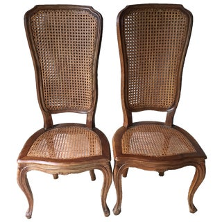 Italian Carved Wood Caned Chairs-A Pair For Sale