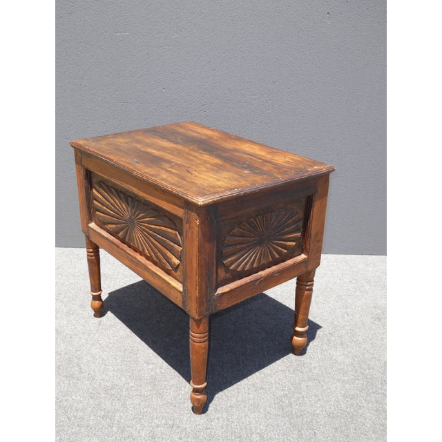 Spanish Style Carved Wood Chest End Table - Image 7 of 11