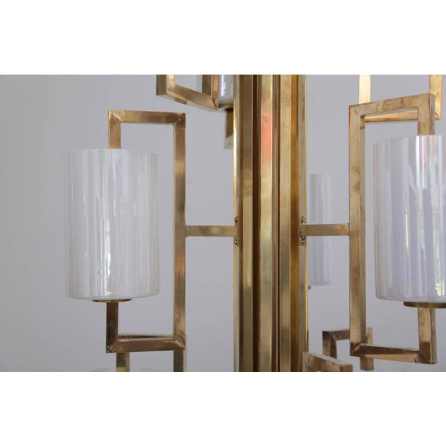 Modern One of Two Extraordinary Huge Brass and Iridescent Glass Chandeliers For Sale - Image 3 of 7