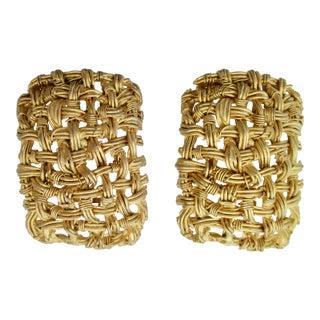 Woven Wire Net Earrings by Actv For Sale