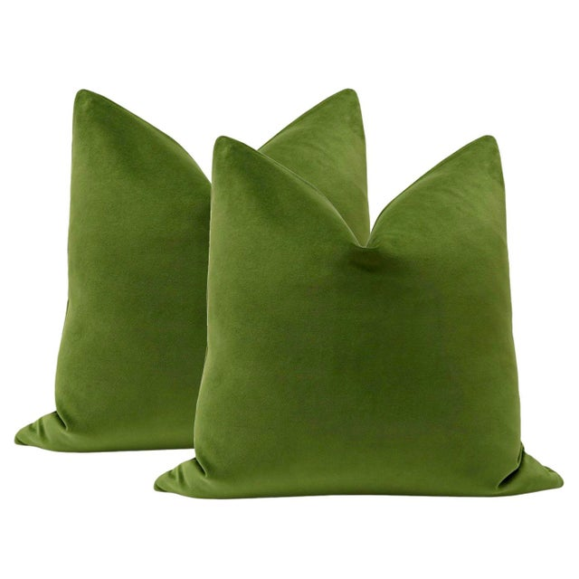 """2010s 22"""" Peridot Velvet Pillows - a Pair For Sale - Image 5 of 5"""