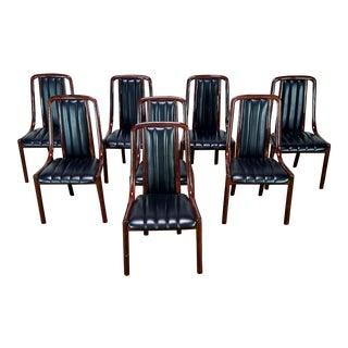 1970s Contemporary Black Leatherette Upholstered Bentwood Dining Chairs - Set of 8 For Sale