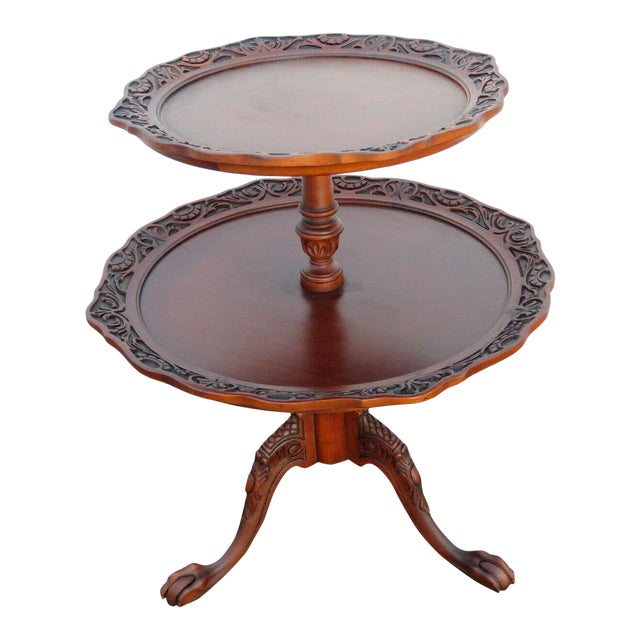 Mahogany Two Tier Hand Carved Pie Crust Round Side Table For Sale